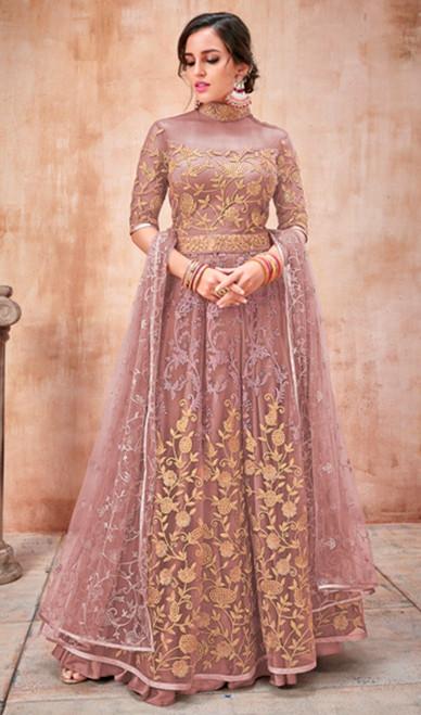 Embroidered Net Anarkali Suit Pink Color