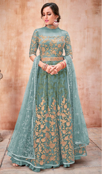 Turquoise Color Shaded Net Anarkali Dress