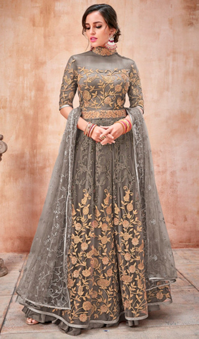Anarkali Suit Gray Color Embroidered Net
