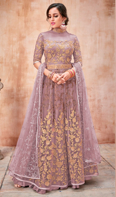 Anarkali Suit, Net Fabric in Purple Color