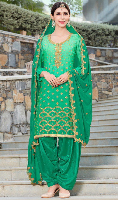 Green Color Shaded Embroidered Silk Patiala Suit