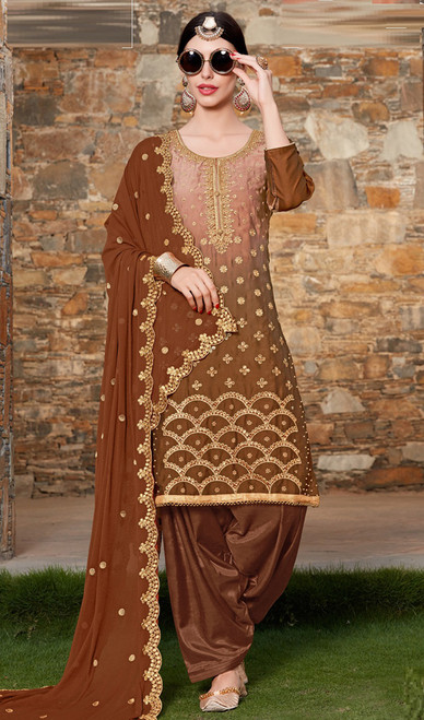 Brown Color Silk Embroidered Punjabi Suit