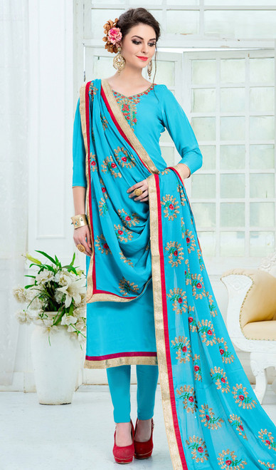 Sky Blue Color Embroidered Silk Churidar Suit