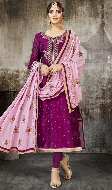 Pink Color Silk Embroidered Churidar Dress