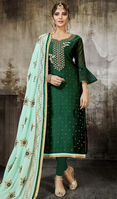 Green Color Embroidered Silk Churidar Kameez