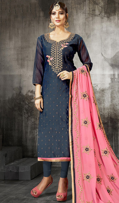 Navy Blue Color Silk Embroidered Churidar Suit