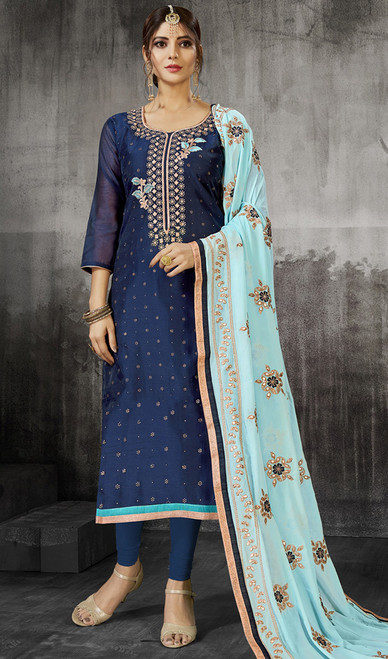 Embroidered Silk Churidar Kameez in Blue Color