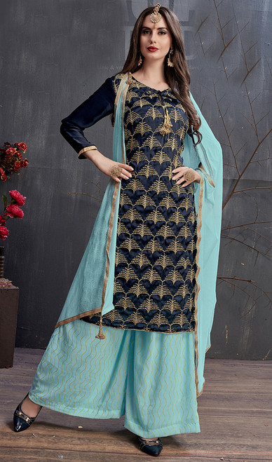 Navy Blue Color Embroidered Georgette and Satin Palazzo Suit