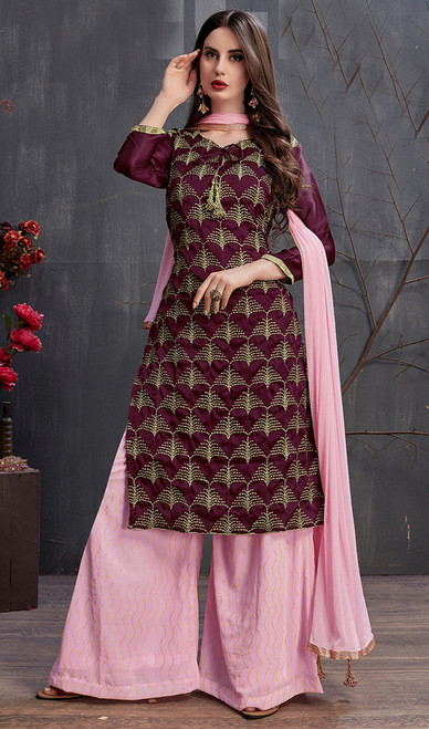 Maroon Color Satin and Georgette Embroidered Palazzo Dress