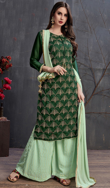 Green Color Embroidered Satin and Georgette Palazzo Suit