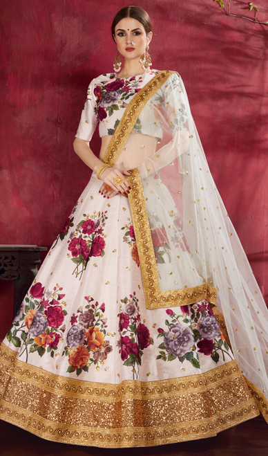 Off White Color Embroidered Silk Lehenga Choli