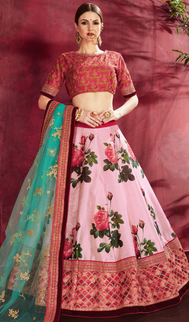 Pink Color Silk Embroidered Choli Skirt