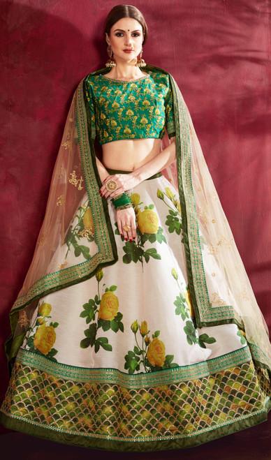 Cream and Green Color Shaded Silk Lahenga Choli