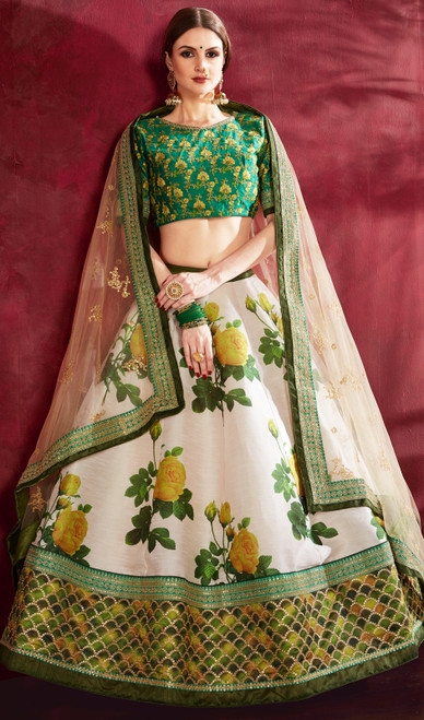 Cream and Green Color Shaded Silk Lahenga Choli