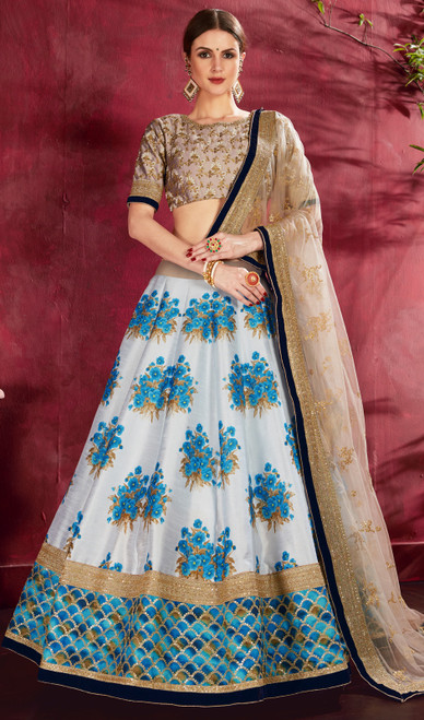 Cream and Beige Color Shaded Silk Lehenga Cholie