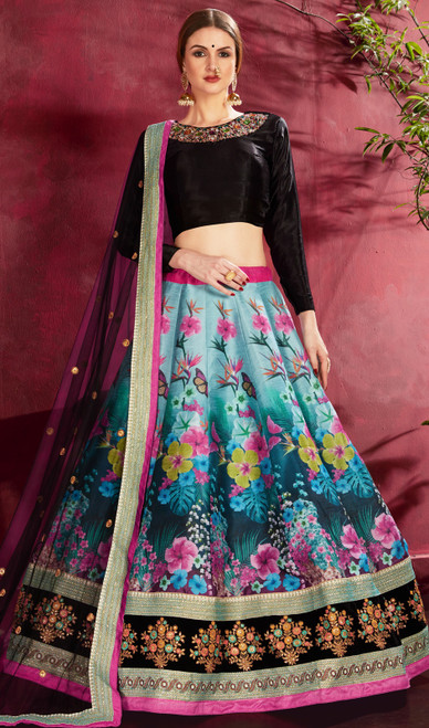 Multicolor Shaded Embroidered Silk Cholie Skirt