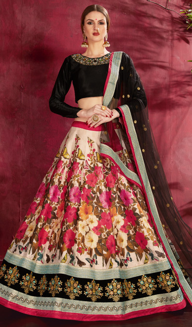 Silk Embroidered Lahenga Cholie in Multicolor