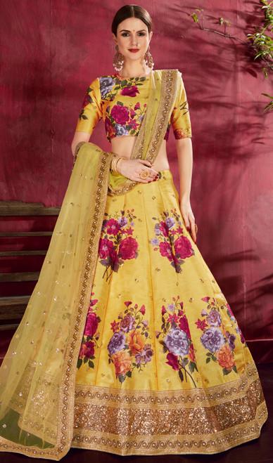 Embroidered Silk Yellow Color Lehenga Choli