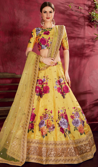 Embroidered Silk Yellow Color Lehenga Choli