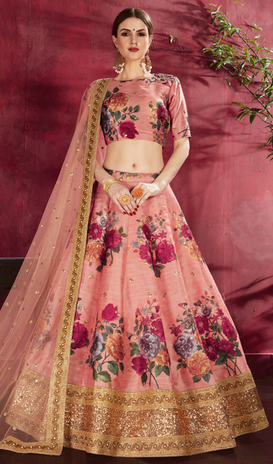 Peach Color Embroidered Silk Lahenga Choli