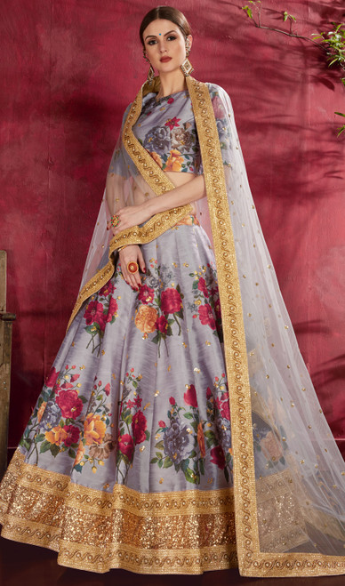 Choli Skirt in Gray Color Embroidered Silk