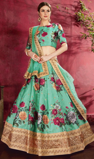 Lehenga Choli, Silk Fabric in Green Color Shaded