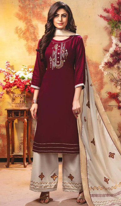 Maroon Color Shaded Rayon Palazzo Suit