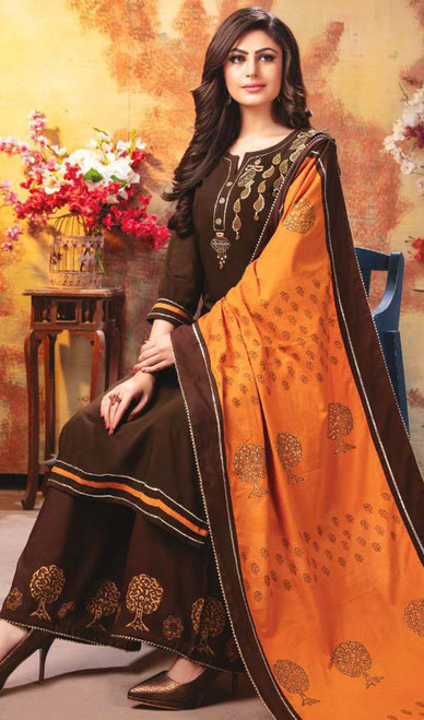 Brown Color Shaded Rayon Palazzo Dress