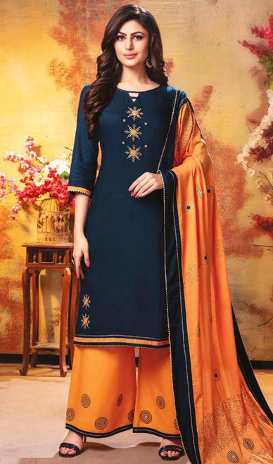 Palazzo Suit in Navy Blue Color Rayon