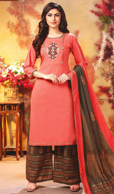 Palazzo Dress, Rayon Fabric in Peach Color