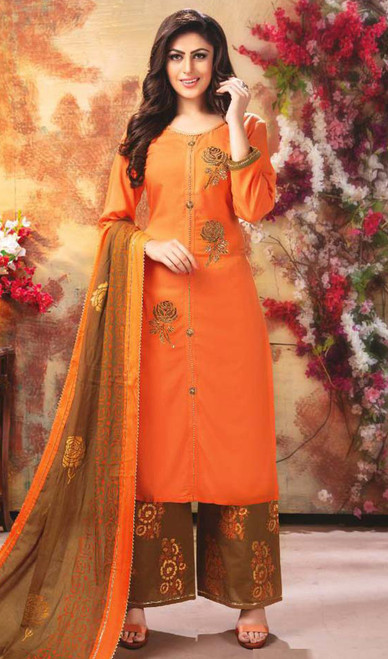 Palazzo Suit, Rayon Fabric in Orange Color Shaded