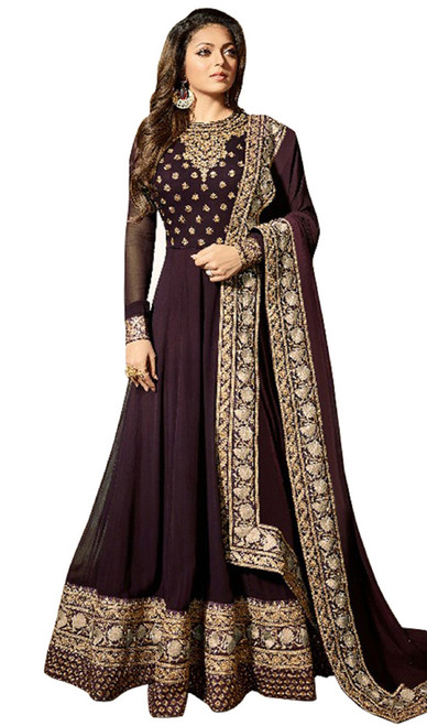 Georgette Embroidered Long Anarkali Suit in Brown Color
