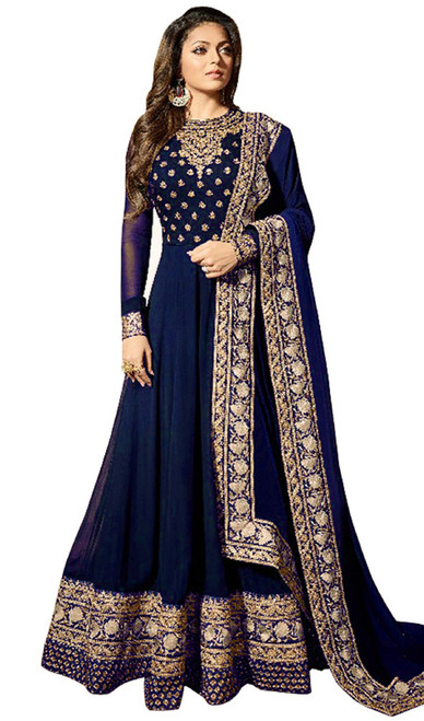 Georgette Embroidered Anarkali Dress in Navy Blue Color