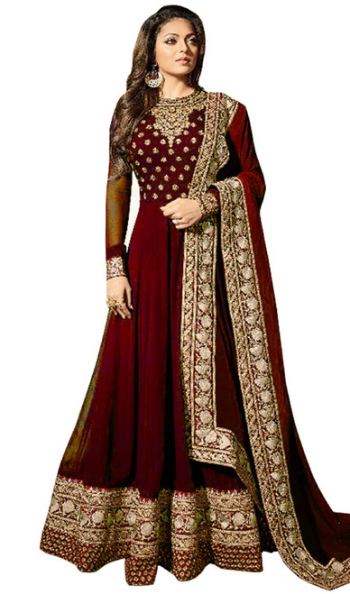 Georgette Embroidered Anarkali Suit in Maroon Color