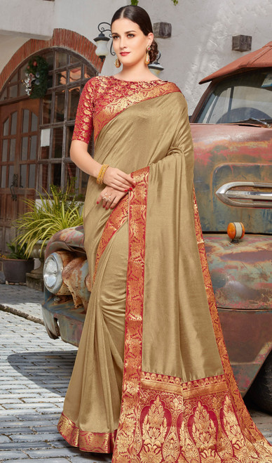 Silk Sari in Gold Color Shaded