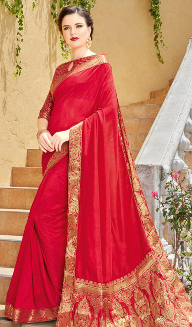 Red Color Shaded Silk Sari