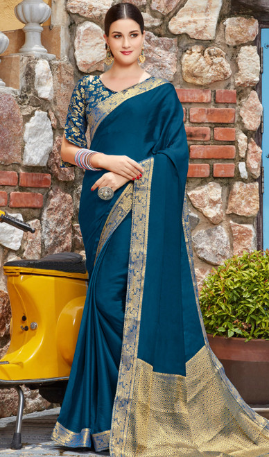 Teal Blue Shaded Silk Sari