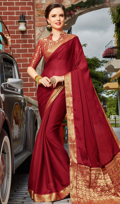 Maroon Color Shaded Silk Saree