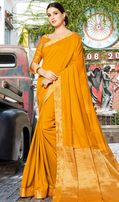 Mustard Color Silk Designer Sari