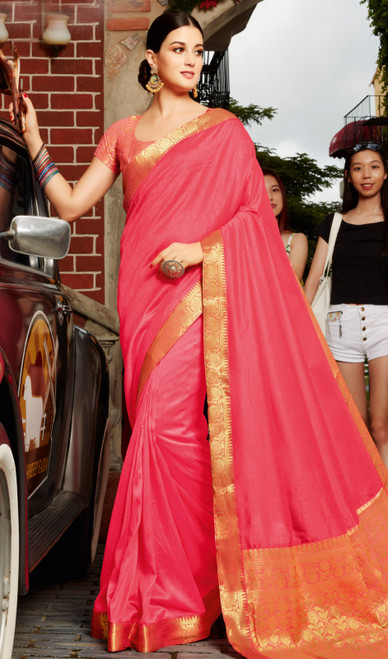 Silk Sari in Pink Color Shaded
