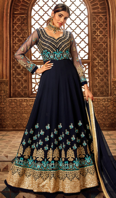 Embroidered Georgette Anarkali Dress in Navy Blue Color