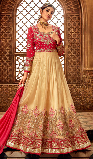 Georgette Embroidered Anarkali Suit in Red and Beige Color