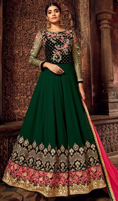 Georgette Embroidered Anarkali Suit in Dark Green Color