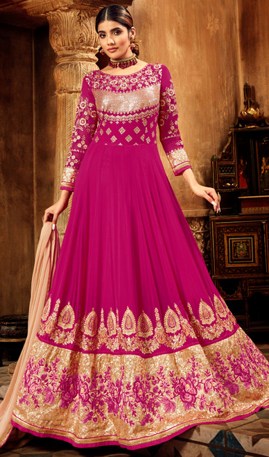 Georgette Embroidered Designer Anarkali Dress in Magenta Color