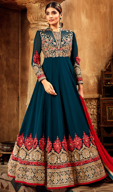 Embroidered Georgette Anarkali Suit in Peacock Blue Color