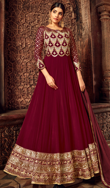 Maroon Color Embroidered Georgette Anarkali Dress