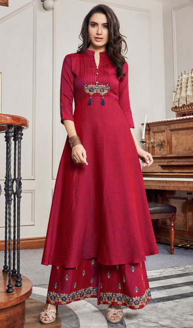Slub Cotton Embroidered Palazzo Suit in Maroon Color