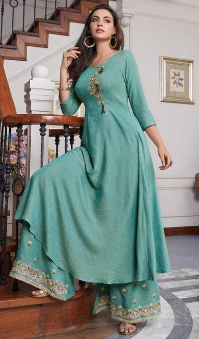 Sea Green Color Slub Cotton Embroidered Palazzo Suit
