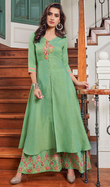 Slub Cotton Embroidered Palazzo Suit in Light Green Color
