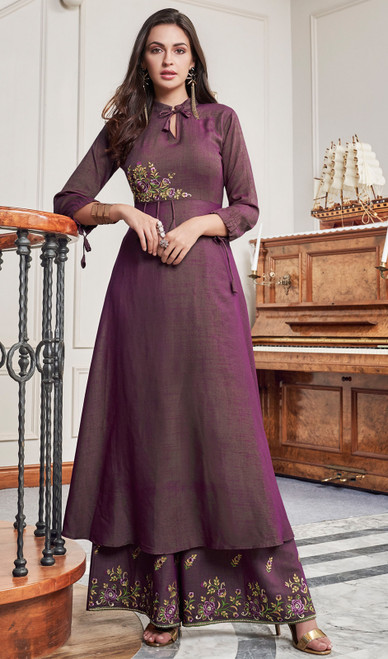 Embroidered Slub Cotton Palazzo Suit in Purple Color